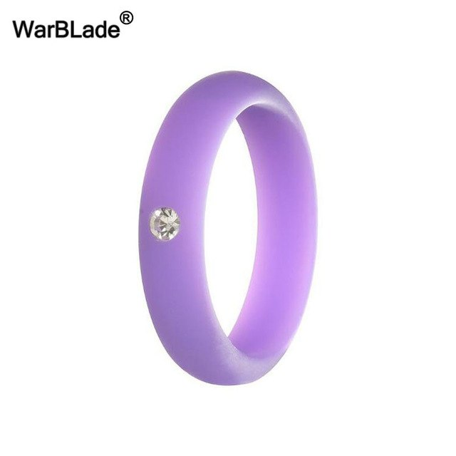 5mm Size 4-9 Food Grade FDA Silicone Ring Hypoallergenic Crossfit Flexible Rubber Finger Rings With Rhinestone For Women Wedding