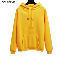 Load image into Gallery viewer, 2018 New Fashion Corduroy Long sleeves Letter Harajuku Print Girl yellow Pullovers Tops O-neck Woman Hoodies Sweatshirts Coat