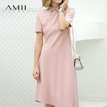 Load image into Gallery viewer, Amii Women Minimalist 2018 Summer Dress for Work Polo Collar Asymmetric 100% Cotton Short Sleeved Female Dresses