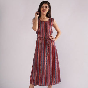 Women Vintage Summer Dress 2018 O-Neck Sleeveless Floral Print Loose Casual Dress with Belt Beach Dress