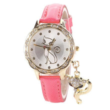 Load image into Gallery viewer, Cute Cat Watch Fashion Women Watches Luxury Crystal Rhinestone Stainless Steel Girl Quartz WristWatches Dropshipping relogio  #D