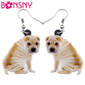 Bonsny Acrylic Cartoon Sitting SharPei Dog Earrings Big Long Dangle Drop Women Girls Ladies Animal Jewelry Wholesale Accessory