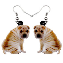 Load image into Gallery viewer, Bonsny Acrylic Cartoon Sitting SharPei Dog Earrings Big Long Dangle Drop Women Girls Ladies Animal Jewelry Wholesale Accessory