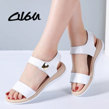 Load image into Gallery viewer, O16U Flat Heels Sandals Shoes Women Genuine Leather T Strap basic Mam Sandals White beige Casual Beach Sandals Female Summer