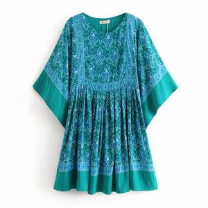 Bohemian Location Paisley Floral Print Dress Green Ethnic Beach Bat Sleeve High Waist Loose Mini Short Dresses Woman Vestido
