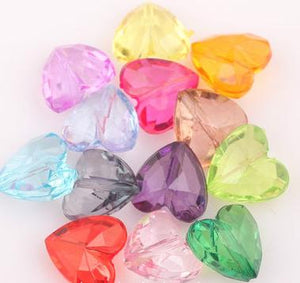 OMH Wholesale 50PCS 8x12 8x15mm Mixed Acrylic Faceted Charm Heart Spacer Beads U Pick Size ZL559