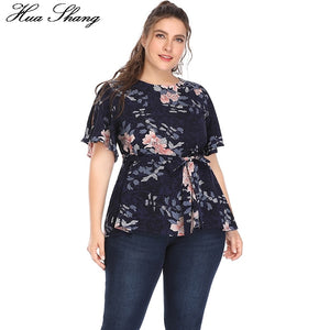 Huashang Women Blouses Plus Size Summer 2018 Fashion Floral Print Waist Bow Belt Butterfly Sleeve 5XL Casual Chiffon Vintage Top
