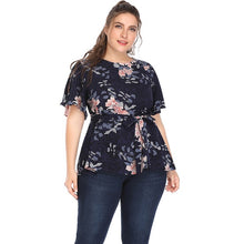 Load image into Gallery viewer, Huashang Women Blouses Plus Size Summer 2018 Fashion Floral Print Waist Bow Belt Butterfly Sleeve 5XL Casual Chiffon Vintage Top