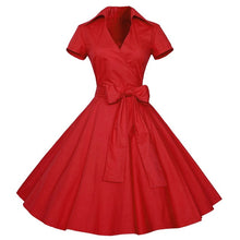 Load image into Gallery viewer, Kenancy Women Rockabilly Dress Retro PinUp Hepburn V Neck Bow Ball Gown Tunic Swing Woman 50s 60s Belt Dresses Feminino Vestidos