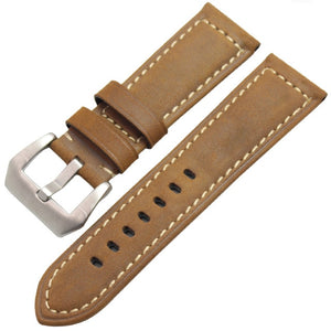 Genuine Leather Watchbands Men High Quality Thick Watch Band Strap 22mm 24mm Brown Black Wristwatches Belt Buckle For Panerai