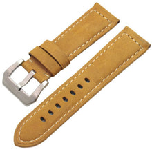 Load image into Gallery viewer, Genuine Leather Watchbands Men High Quality Thick Watch Band Strap 22mm 24mm Brown Black Wristwatches Belt Buckle For Panerai