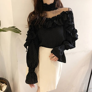 Retro Ruffle Long-Sleeved Shirt Fashion Chiffon Womens Tops And Blouses Sexy Hollow Net Yarn Office Ladies Shirts 2018 New