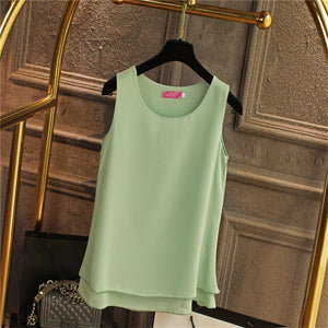 Oversized 6XL Women's shirt 2018 New arrival Sleeveless Candy colors Chiffon Blouse For Women Long Tops Summer Fashion clothes