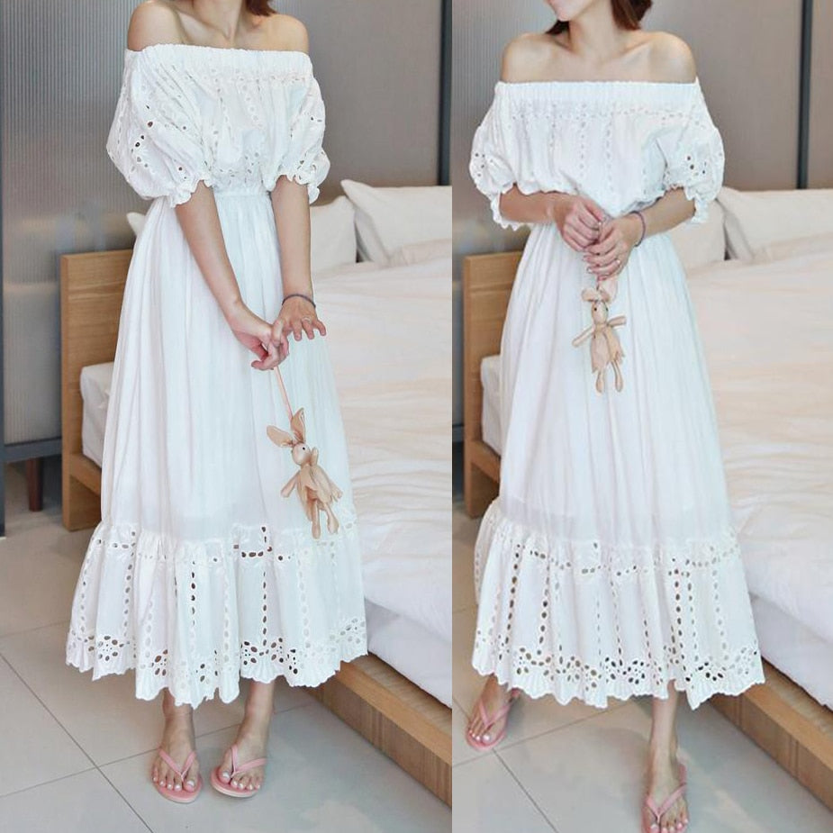 Free Shipping 2018 New Fashion Princess Cotton Embroidery Cutout One-piece Long Mid-calf White Dresses Off-shoulder Dresses