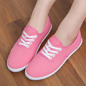 Canvas Woman's Flat Platform Sneakers Autumn Lace Up Causal Colors Fashionable Espadrilles Female Shoe 2018 Footwear For Girls