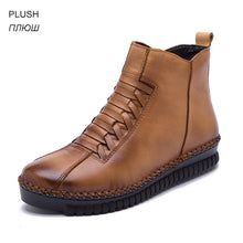 Load image into Gallery viewer, O16U 2018 Winter Short Boots Full Grain Leather Booties Shoes Women Moccains Plush Rubber Handmade Black Snow Boots Large Size