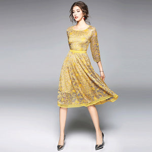 Borisovich Women Casual Dress 2018 Autumn New Arrival Fashion Elegant Slim Bohemian Style Women Lace Patchwork Party Dress Q377