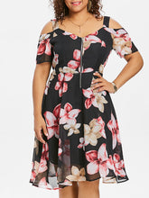 Load image into Gallery viewer, Plus Size Floral Cold Shoulder Floral Print Dress Summer Plunging Neck Half Sleeve High Waisted A-Line Dress Robe Femme
