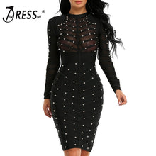 Load image into Gallery viewer, INDRESSME 2018 Women Black Long Sleeve Studded Bandage Dress Knee Length Bodycon Dress