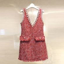 Load image into Gallery viewer, 2018 High Quality Brand Dress Beading Black Dress Winter Spring Pearls Tassel Sleeveless Tweed Woolen Women Red Dress vestidos