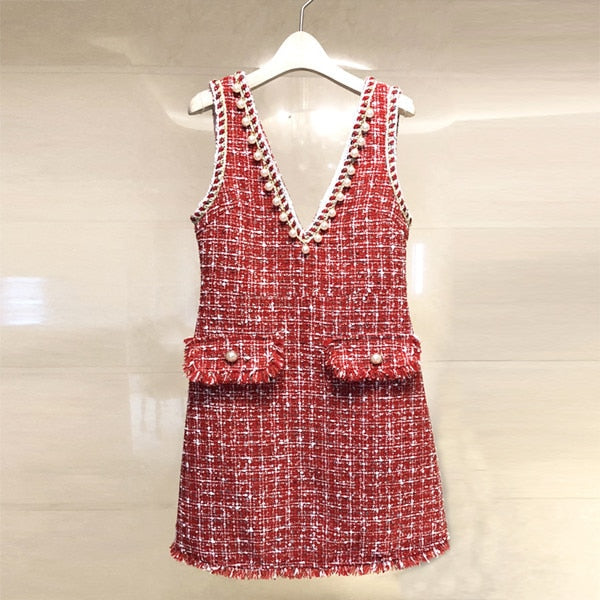 2018 High Quality Brand Dress Beading Black Dress Winter Spring Pearls Tassel Sleeveless Tweed Woolen Women Red Dress vestidos