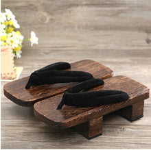 Load image into Gallery viewer, ELGEER Female slippers summer Japanese wooden geta clogs shoes sandals flip-flops two teeth with v
