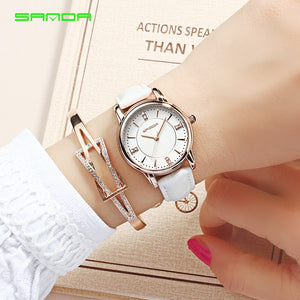SANDA brand watch women's watch Relogio Feminino leather strap waterproof fashion casual women quartz watch