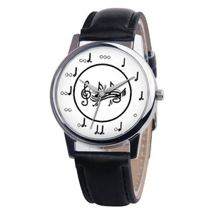 Simple Woman Quartz Analog Unisex Musical Note Style Leather WristWatch ladies Gfit Casual watch female Relogio Feminino #C