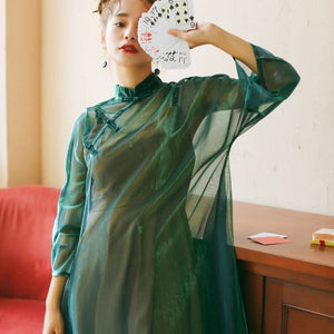 New Harajuku Laser Chinese Style Buttons Long Sleeve See Through Mesh Cheongsam Dress Purple/Green/Pink Belted Sunscreen Dresses