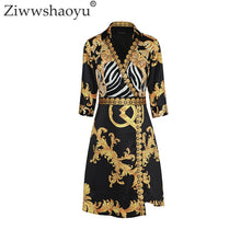 Load image into Gallery viewer, Ziwwshaoyu 2018 Summer Designer Dress Women Turn Down Collar 3/4 Sleeve Royal Baroque Printed Vintage Plus Size 2XL Dress