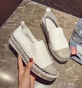 2018 Famous brand European patchwork Espadrilles Shoes Woman genuine leather creepers flats ladies loafers white leather loafers