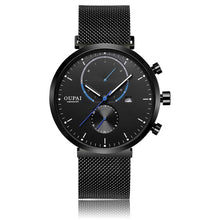 Load image into Gallery viewer, OUPAI Luminous Black Sports Watch Multi-Function New Fashion 2018 Waterproof Watch Man with Calendar Quartz Standless Steel band