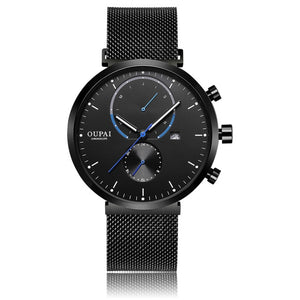 OUPAI Luminous Black Sports Watch Multi-Function New Fashion 2018 Waterproof Watch Man with Calendar Quartz Standless Steel band