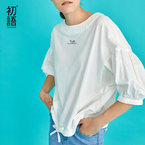 Toyouth New Autumn Korean White Lantern Sleeves Blouses Women O-Neck Loose Female Shirts Letter Cotton Blouse Camisas Mujer