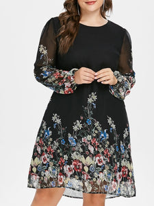 Wipalo Plus Size Floral Print Tunic Women Dress Long Sleeve Autumn Elegant Tribal Flower Print Vocation Shirt Dress Chiffon 5XL