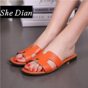 Free shipping omfortable summer causal shoes genuine leather slip on round toe women flat slippers size 35-42 big size