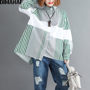 DIMANAF Women Blouse Shirt Cotton Print Striped Patchwork Basic Tops Casual Female Loose Plus Size Cardigan Clothing 2018 Autumn