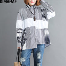 Load image into Gallery viewer, DIMANAF Women Blouse Shirt Cotton Print Striped Patchwork Basic Tops Casual Female Loose Plus Size Cardigan Clothing 2018 Autumn