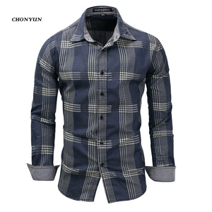New 2018 Men's Denim Long Sleeve Casual Shirt Brand Clothing Male Slim Fit Shirts Denim Workwear Breathable Men Jeans Shirt 3XL