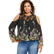 Load image into Gallery viewer, Wipalo Plus Size 5XL Cold Shoulder Floral Print Lace Panel Blouse Women Long Sleeve O Neck See Thru Blouses Big Size Blusas