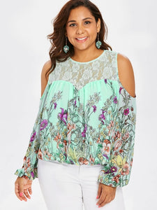 Wipalo Plus Size 5XL Cold Shoulder Floral Print Lace Panel Blouse Women Long Sleeve O Neck See Thru Blouses Big Size Blusas