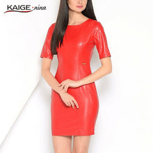 Load image into Gallery viewer, Kaige.Nina New Women's Vestidos PU Dress Fashion Pure Color Style Short Sleeves O-Neck Sheath Mini Autumn Dress 1615 a