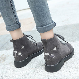 Sweet Cartoon Cat Girls Ankle Boots Shoes Lace Up Chunky Med Heels Martin Boots Womens Casual Comfort Short Boots