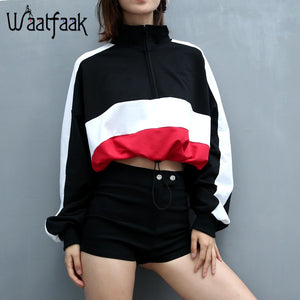 Waatfaak long-sleeved pullovers hoodies Deep V Neck Top Drawstring Loose Cropped Patchwork Sweatshirt Women Kawaii Oversize 2018