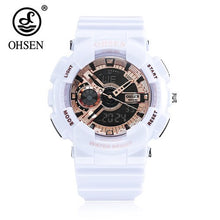 Load image into Gallery viewer, 2018 Top Sale OHSEN NEW Fashion Digital Sport Watch Mens Quartz Wristwatch Rubber Band White 50m Waterproof LED Watch Relogios
