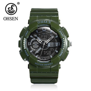 2018 Top Sale OHSEN NEW Fashion Digital Sport Watch Mens Quartz Wristwatch Rubber Band White 50m Waterproof LED Watch Relogios