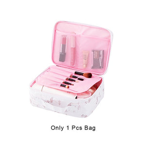 Women Flamingo Cosmetic Bag Makeup Case Dustproof Beauty Toiletry Storage Pouch Wash Box Suitcase Organizer Travel Necessary