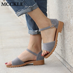 MCCKLE Women Sandals Flock Buckle Strap Flats Sewing Cover Heel Female Shoes Comfortable Low Heel For Ladies Fashion Footwear
