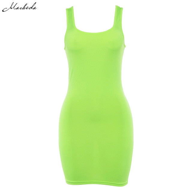 Macheda Fashion Women Sexy Basic Dresses Sleeveless Slim Vest Tanks Bodycon Dress 2018 New Casual Strap Solid Party Dress