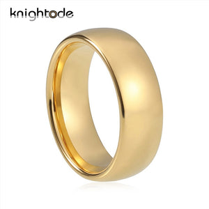 Classic Gold Color Wedding Ring 8mm Tungsten Carbide Rings Women  Men Engagement Ring Dome Band